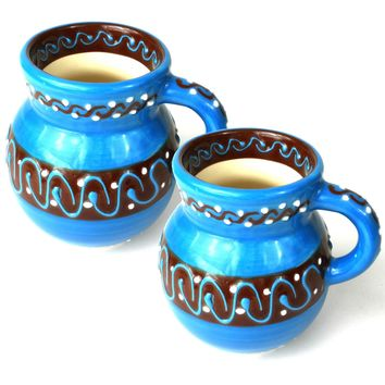 Set of Two Beaker Cups Mugs- Azure Blue Mexican Pottery