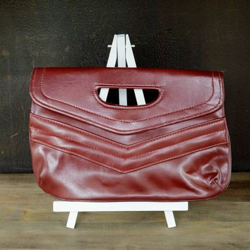 Vintage Envelope Clutch, Cranberry Clutch Bag, Small Hand Bag, Maroon Vegan Faux Leather Vinyl Handbag, Burgundy Purse, Minimalist Clutch