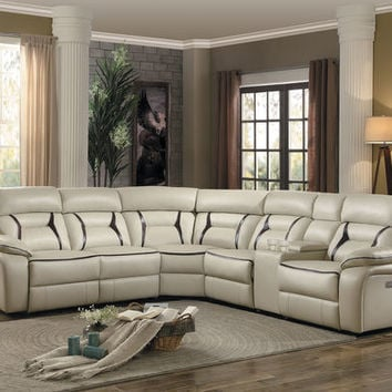 Home Elegance 8229BG-6pc 6 pc Amite collection beige leather gel match upholstered sectional sofa with power recliners