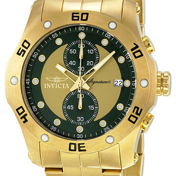Invicta Signature II Chronograph Green/Gold-tone Dial Mens Watch 7385