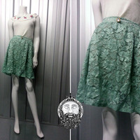 Vintage 90s Mint Green Floral Lace Mini Skirt Pastel Goth 90s Grunge Semi Sheer High Waisted Club Kid Kawaii Crochet Embroidery Baby Doll