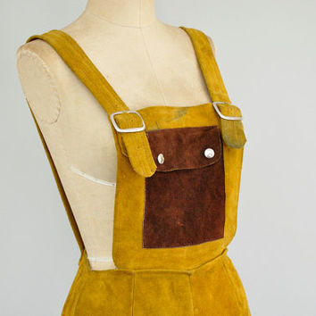 vintage 1960s leather playsuit / 60s rare festival romper / 1960s 60s leather shorts