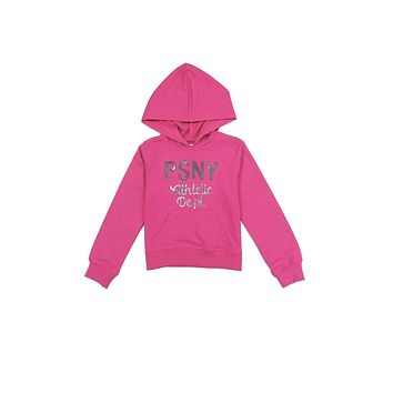 Toddler Girls French Terry Hoodie w/ Sequin Logo (Hot Pink)