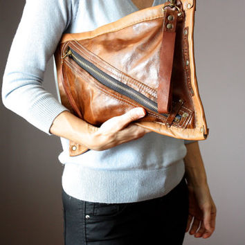 Rustic leather clutch, distressed leather bag, rugged bag, hair on hide clutch, cowhide clutch , Brown