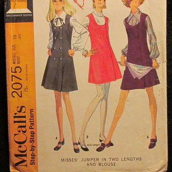 Sale Uncut/Cut 1960's McCall's Sewing Pattern, 2075! Size 18 Bust 40 Large/XL/Women's/Misses/Button Up Jumper Dress/Sleeveless/Thigh Length
