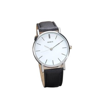 Geneve Faux Leather Analog Quartz Wrist Watch