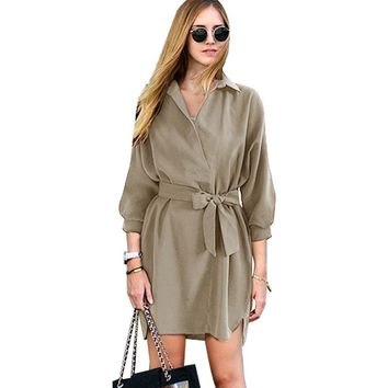 Sexy Fashion Autumn Women Shirt Dress Green Belt V Neck Long Sleeve Vintage Short Mini Woman Dresses Female Vestidos