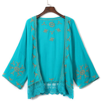 Green Embroidered Bat Sleeve Lace Panel Kimono
