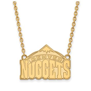 NBA Denver Nuggets Large Pendant Necklace in 10k Yellow Gold - 18 Inch