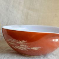 Pyrex Autumn Harvest Cinderella Bowl // Pyrex 444 4 Quart bowl // Orange wheat pyrex bowl