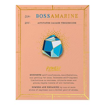 Bossamarine Fantasy Stone Magnetic Enamel Pin in Shades of Blue