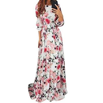 TOOPOOT Wome Summer Dress, Lady Bohemia Print Flower Evening Prom Swing Floor-Length Maxi Long Dress