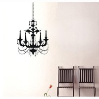 "23.6"" X 27.5"" Chandelier Wall Decals Mural Art Removable Wall Decor Decal Home Bedroom Sticker DIY Family Droplight Lamp Elegant"