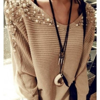 Beige Double Shoulders Hot Sale Long Sleeves Women Tops Knitting Sweater (Color: Beige) = 1920132100
