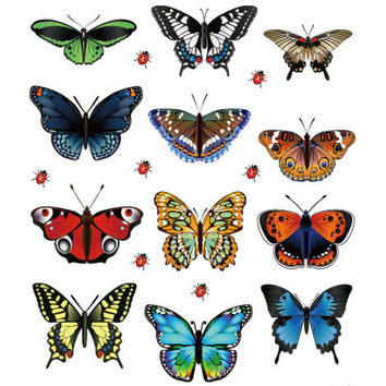 Happy Gifs 12Pcs lot Colorful PVC 3D Butterfly Wall Decor Cute Butterflies Wall Stickers Art DIY Decals Home Decoration Paper