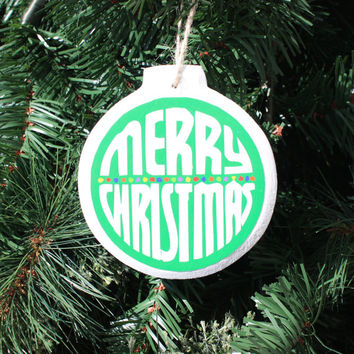 Merry Christmas -Round wooden Christmas ornament