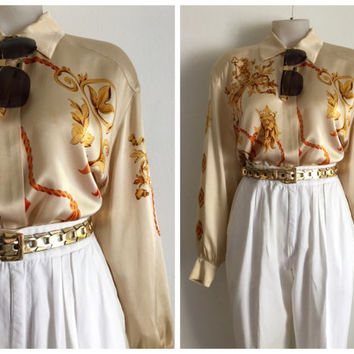 ESCADA!!! Vintage 1980s 'Escada by Margaretha Ley' oversized cream silk button front blouse with ornate baroque print