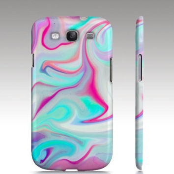 Samsung Galaxy s3 case, Galaxy S4 case, hippy, hipster, swirls, marble abstract painting, aqua blue turquoise pink white, art for your phone