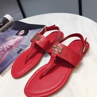 Tory Burch red Women Patent Leather Flip Flops Thong TB Flats Sandals, Female Designer Rubber Sole Miller Loafers Girls Ladies Slippers