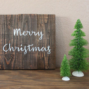 Merry Christmas Stained Wooden Sign