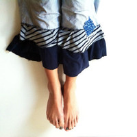 Ladies bloomers upcycled ruffled pants seersucker navy blue Gray white cotton stretch  Size 16 comfort Knit reclaimed ruffled pantaloons