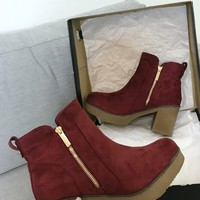 Block Party Burgundy Suede Platform Zipper Bootie