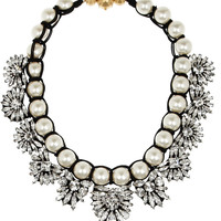 Shourouk | Fawcett silver-plated, Swarovski crystal and faux pearl necklace