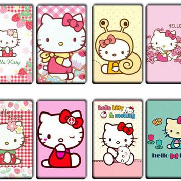 8 pcs/lot Lovely Hello kitty Card Stickers Classic Toys girls Cute Anime Cat Card Stickers DIY Cartoon Gifts kids women Toys