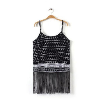 Bralette Hot Comfortable Sexy Beach Summer Women's Fashion Cotton Tassels Spaghetti Strap Tops Sleeveless Stylish Vest [6651191937]
