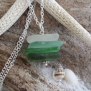 Genuine surf tumbled quad stack sea glass necklace. Handmade in Hawaii, Sea glass jewelry.