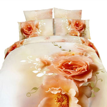 King Size Duvet Cover Sheets Set, Floral Sensation