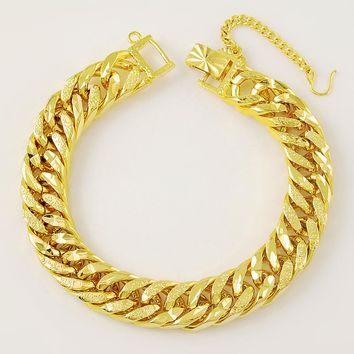 24K Gold Link Chain Bracelet For Women Men
