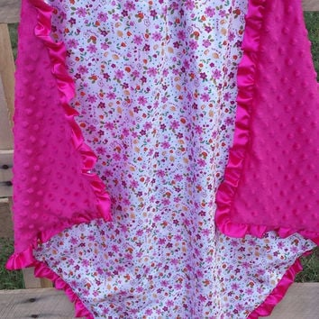 Baby Blanket Small Floral and Pink Minky