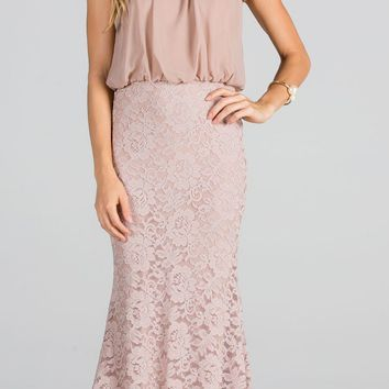 Beaded Neck Halter Blouson Long Formal Dress Taupe
