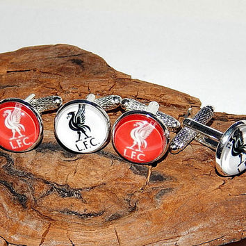 Liverpool Football Club logo cufflinks, FC Liverpool Football cuff links, Liverpool Football team, Liverpool Football emblem patch cufflinks