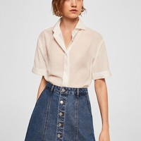 Denim organic cotton skirt - Woman | MANGO Denmark