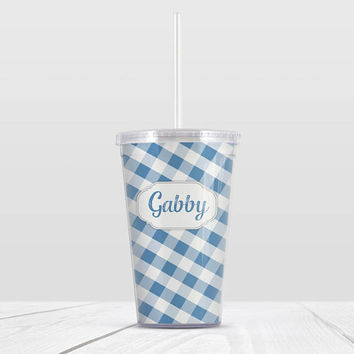 Blue Gingham Personalized Tumbler Cup with Straw - Pattern with Custom Name - 16oz Beverage Tumbler - Made to Order