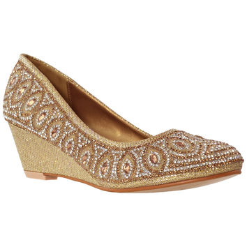 Womens Dress Shoes Slip On Wedge Pumps Rhinestone Jewel Shoes Gold