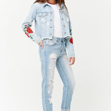 Embroidered & Distressed Denim Jacket
