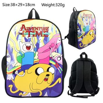 15 Inch  Adventure Time Backpacks for Teenage Boys Finn and Jake School Book Bag Pack for Students Mochila s Travel Bag