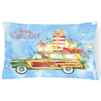 Merry Christmas Red Dachshund Canvas Fabric Decorative Pillow CK2465PW1216