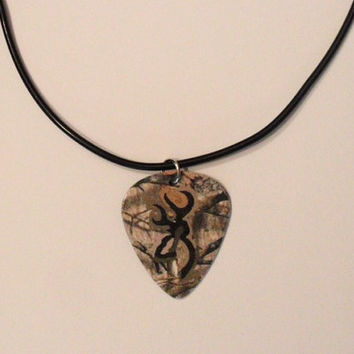 Realtree Camo with black deer symbol guitar pick necklace jewelry for guy or girl