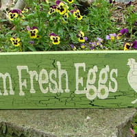 Wooden Farm Fresh Eggs Sign (Spring Green with Crackle Effect)