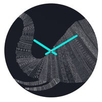 Florent Bodart Elephant I Blue Round Clock