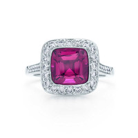 Tiffany & Co. - Tiffany Legacy® rubellite ring in platinum with diamonds.