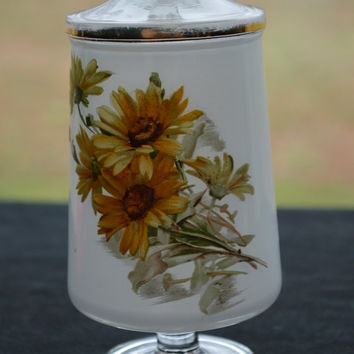 Yellow Floral Cotton Swab or Cotton Ball Jar with Lid-Black Eyed Susan Pattern