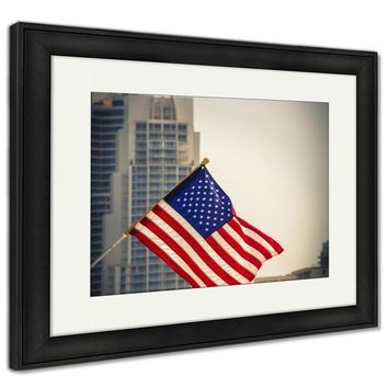 Framed Print, Miami Downtown American Flag