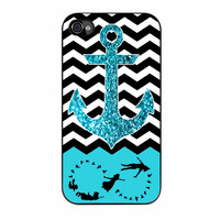 Peter Pan Mint Glitter Anchor Black Chevron iPhone 4 Case