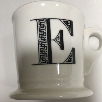 Anthropologie Monogram Ceramic Coffee Cup Mug Personalized Name Letter Initial E