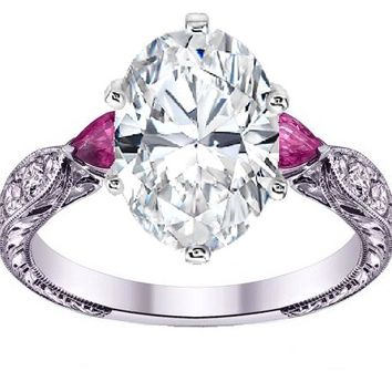Engagement Ring - Oval diamond Engagement Ring Pink Sapphire Pear side stones Hand engraved White Gold band - ES1103OVPS